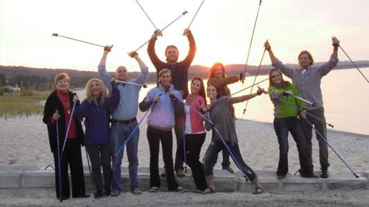 Walking the beach with real Nordic Walking Poles from SWIX and EXEL