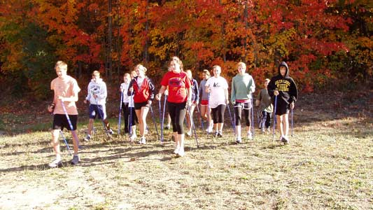 Fall color Nordic Walking with SWIX and EXEL one-piece walking poles